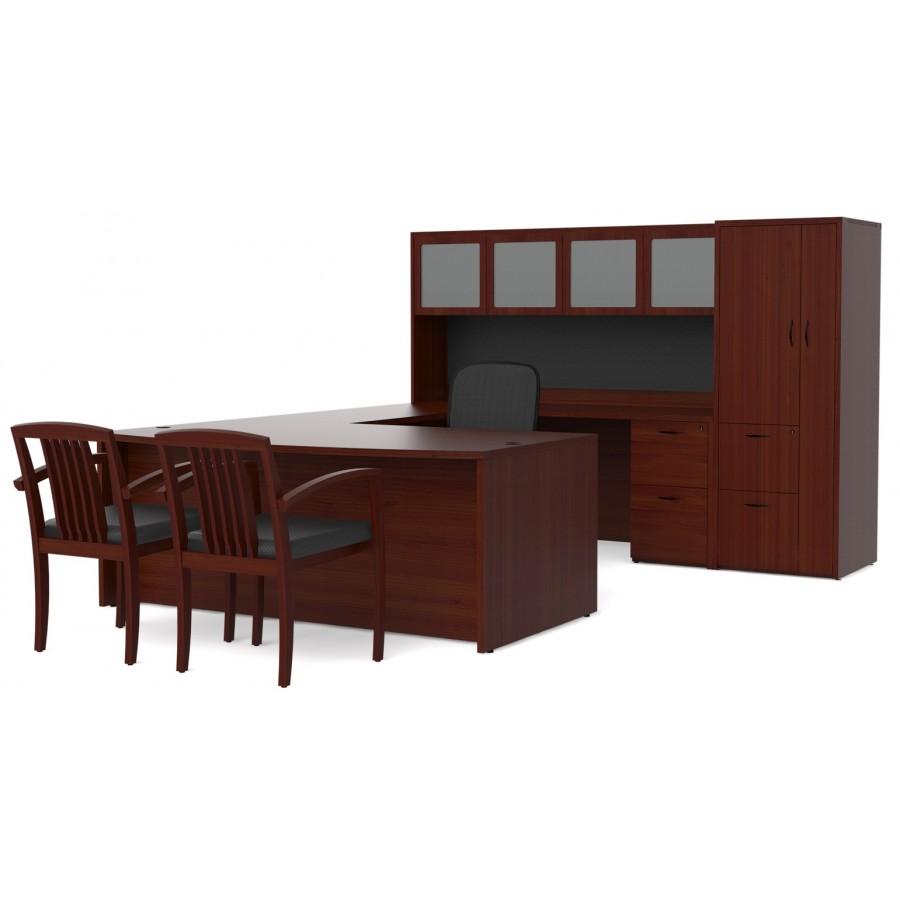 U Shape Desk With Hutch