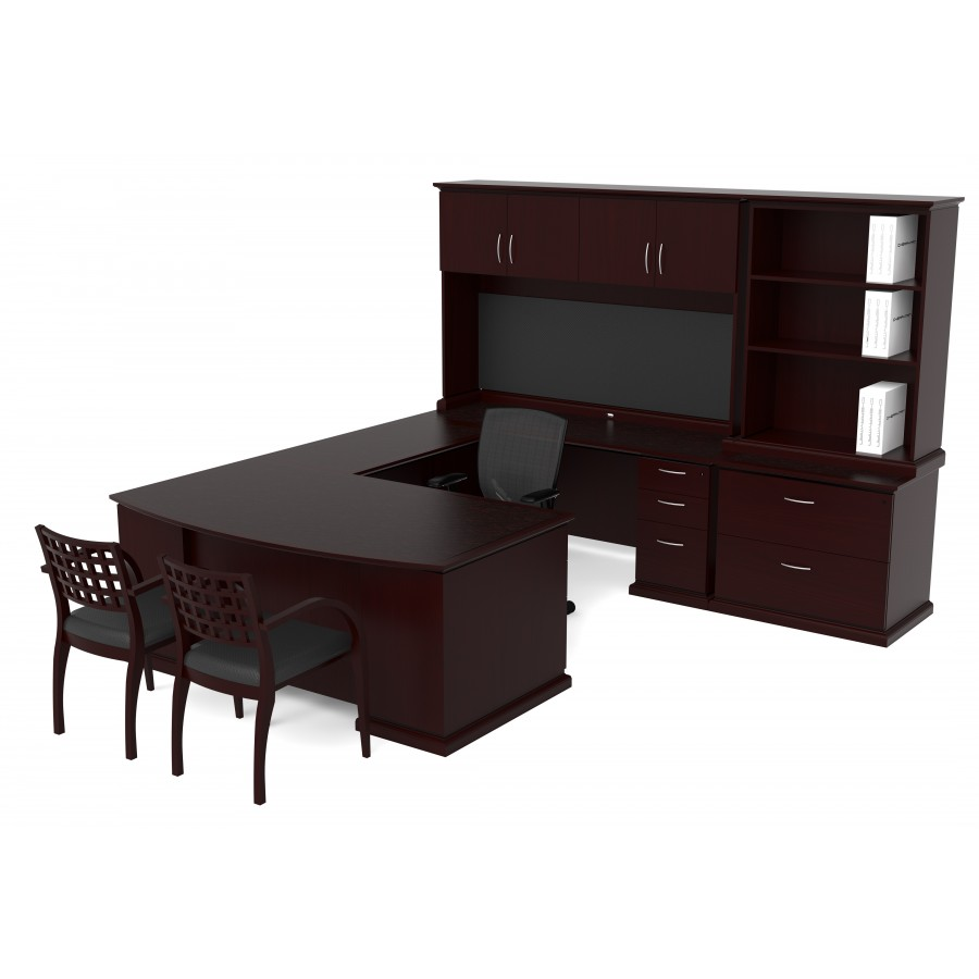 Veneer U Shape Desk Hutch Combo