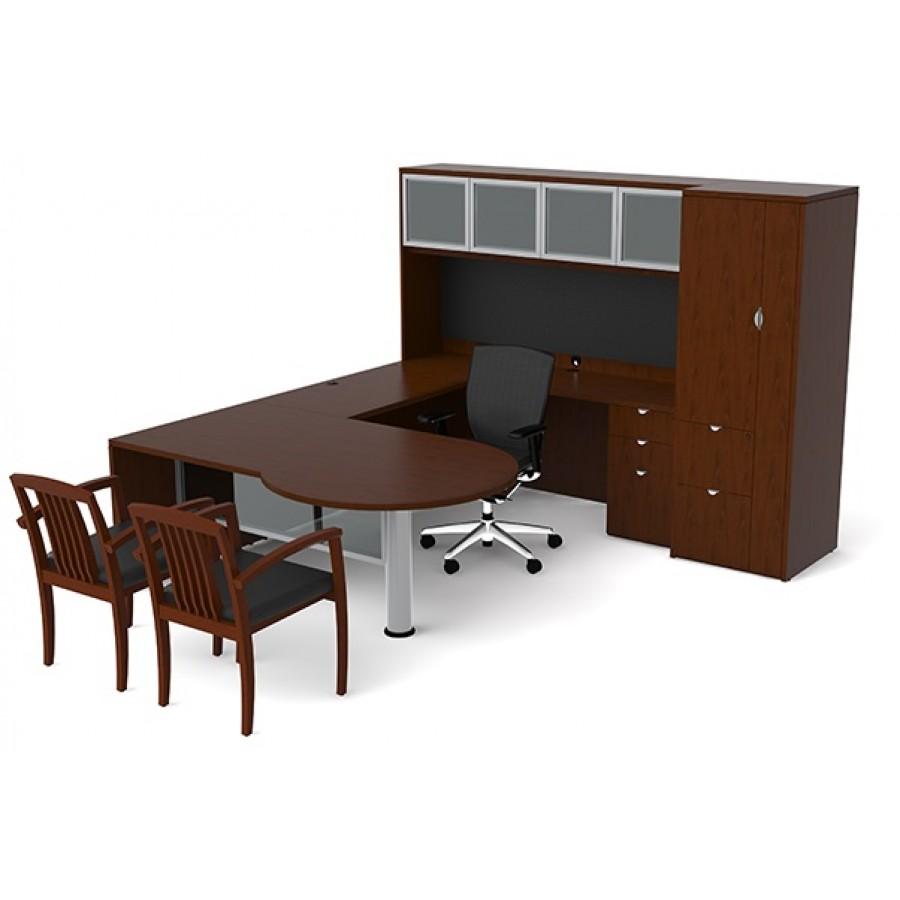 veneer ushape desk hutch combo