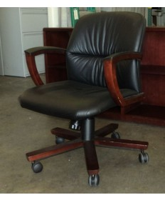 Hon Leather Conference Chair with Cherry Frame
